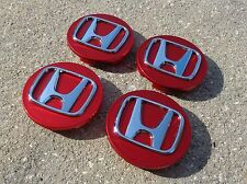 "Honda Center Caps Red Set 4 Cap 2.75"" 69mm wheel rim insert cover Civic Accord"