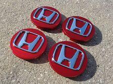 "Honda Set 4 Red wheel rim center cap insert emblem 2.75"" 69mm Civic Accord CRV"