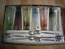 Vintage Astracolor harlequin dessert wine glasses spoons x 6  boxed