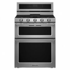 "KitchenAid 30"" Stainless Steel Freestanding Gas Double Oven Convection Range"