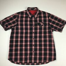 ROCAWEAR Mens Short Sleeve Shirt - Black Red Plaid - Sz 2XL