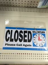 """New Open Closed Hanging 11.5"""" x 6"""" Window Door Sign + Will Return Movable Clock"""