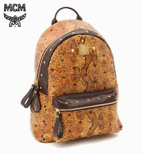 $2495 MCM Munich MEN BROWN GOLD LEATHER SNAKE Backpack SCHOOL WORK BRIEFCASE BAG