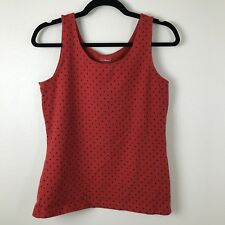 LL Bean Polka Dot Tank Top Size S Small Red Navy Blue E32