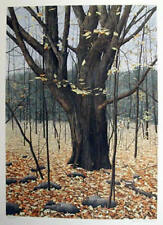 "Helen Rundell Plate Sign/#d Litho ""Old Oak"" Fall wooded scene in the country"