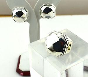 Designer $1800 Lagos Sterling Silver 18K Ring and Earring Set