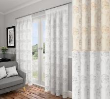 One Pair Of Lotus Floral Ready Made Voile Lined Pencil Pleat Curtains