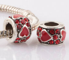 2pcs silver love red LAMPWORK CZ spacer beads fit Charm European Bracelet #F970