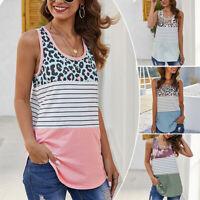 Women Leopard Summer Loose Sleeveless Tank Vest Ladies Baggy Tops Blouse Shirt
