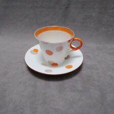 Shelley china coffee cup regent orange polka dots W12210