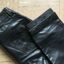 WOMENS SZ 0 26x27 RARE VTG GAP BOOT CUT BLACK LEATHER MOTO PANTS SPRING 2000