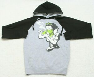 Small A.M.S. Hooded Sweatshirt Hoodie Top Cotton Poly Long Sleeve Smoking Apple