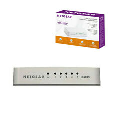 NETGEAR GS205 Network Switch 5-Port Gigabit Desktop Hub White Ethernet Splitter