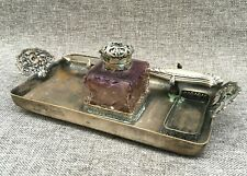 Small antique french Napoleonn III inkwell 19th century silver plated bronze