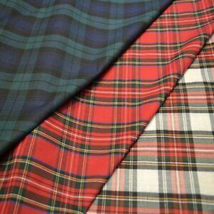 100% Cotton Tartan Fabric, craft, bunting quilting, dressmaking. 3 colours.