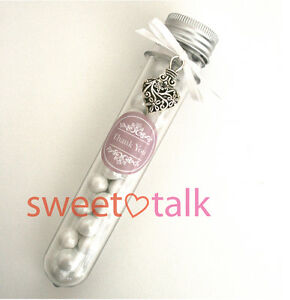 PERSONALISED WEDDING FAVOUR BOMBONIERE - CHOCOLATES CANDY TUBE, LOLLY STICK