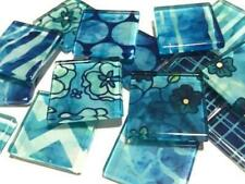 Handmade Blue Patterned Glass Tiles 2.5cm - Mosaic Tiles Supplies Art Craft