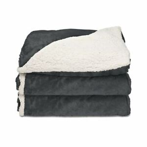 "Sunbeam Heated Blanket Reversible Microplush/SHERPA Throw SLATE Gray  50""x 60"" S"