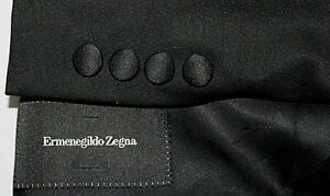 ERMENEGILDO ZEGNA Roma 56 / 44R Black Tuxedo Wool Formal 1B Peak Lapel Jacket