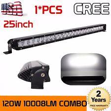 Slim 25Inch CREE 120W Led Work Light Bar 3D Spot Flood Offroad 4WD Pickup 24/26