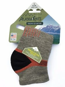 ALASKA KNITS™ MERINO WOOL LADIES' HIKING QUARTER SOCKS  1-pack       MADE IN USA