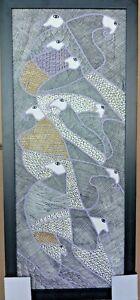 "ORIGINAL HAITIAN ART PAINTING FAMOUS LEVOY EXIL ""BIRDS"" FOLKART 16""x39"" HAITI"