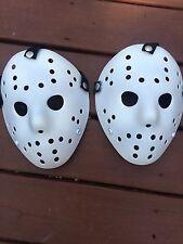 two Custom Flat White Jason  Voorhees FRIDAY THE 13th hockey mask Halloween