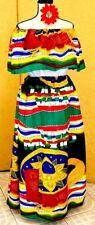 Mexican Dress multicolor folklorico Adelita Viva Mexico Sombrero 2pc 5 de Mayo