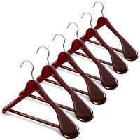 High-Grade Wide Shoulder Wooden Coat Hangers - Solid Wood Suit Hanger, 6 Pack