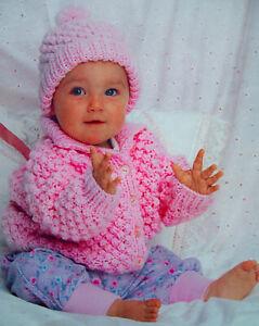 "Baby Girls Popcorn Jacket Collar Hat Cardigan KNITTING PATTERN Chunky 18 -22"""