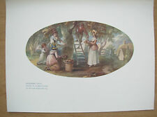 VINTAGE 1912 PRINT - GATHERING FRUIT By WILLIAM HAMILTON