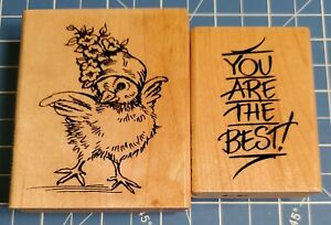 Lot of 2 STAMPENDOUS Wood Mounted Rubber Stamps: Spring Chick, You are the Best