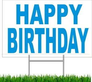 """4 pack Happy Birthday Large Outdoor 24""""x18 Land Yard Sign Wire Stake party sign"""