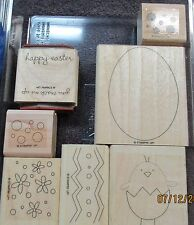 Stampin Up A GOOD EGG Egg Shape Chick Happy Easter & Spring Retired rubber stamp
