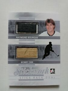 BOBBY ORR RAY BOURQUE 2013-14 ITG STICKWORK STICK RACK DUAL SILVER GAME USED SP