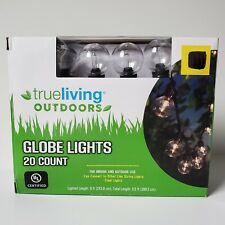 True Living Globe Style Clear Light Set 20 count Bulb Black Wire 8 ft Indoor/Out