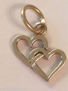 "❤️RETIRED JAMES AVERY 14k GOLD DOUBLE CUPID HEARTS CHARM  💕  SMALL ⅜""  w/ Box❤️"