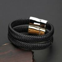 Unisex Leather Braided Silver Buckle Bracelet Bangle Wristband Men Jewelry Gifts