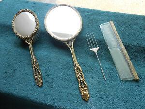 Vintage Vanity Mirror and Brush Set