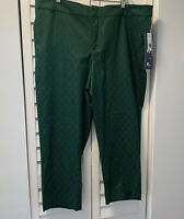 LORD & TAYLOR Women's Ankle Pants Green Brocade Welt Pockets Flat Front 18W NWT