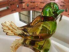 Vintage Murano Italy Hand Blown Glass Dove Love Bird Green + Amber Glass