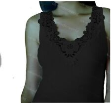 Ladies Plain Cotton Wide Strap Vest Top Lace Trim Neck Design Cami Tank Camisole