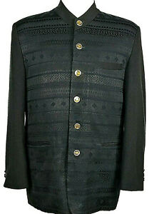 PONTELLI UOMO By SUPREME Men's Blazer Jacket Suit Size 40R Black Brass Buttons