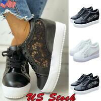 Women Platform Hidden Wedge High Heel Lace Hollow Sneakers Trainers Casual Shoes