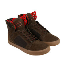 f54bc11986 Supra Skytop Mens Brown Suede High Top Lace Up Sneakers Shoes