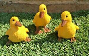 Ducks Set of 3 Garden Lawn Patio Ornament Gift Present Statue Bird In Outdoor