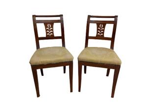 Coppia di sedie Impero in noce con cartella intagliata - primi 800 - poltrone