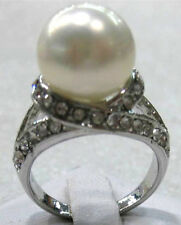 12mm white pink gray black coffee green purple shell pearl jade 18 KGP ring