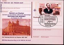 """BRD PK MiNr 1912 (PMR Nr 24a) """"100.Todestag Heinrich von  Stephan"""" -Freimaurer-"""