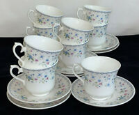 """9 England *ROYAL VALE CHINA *BLUE & PINK FLORAL* 3 1/4"""" CUPS & SAUCERS*"""